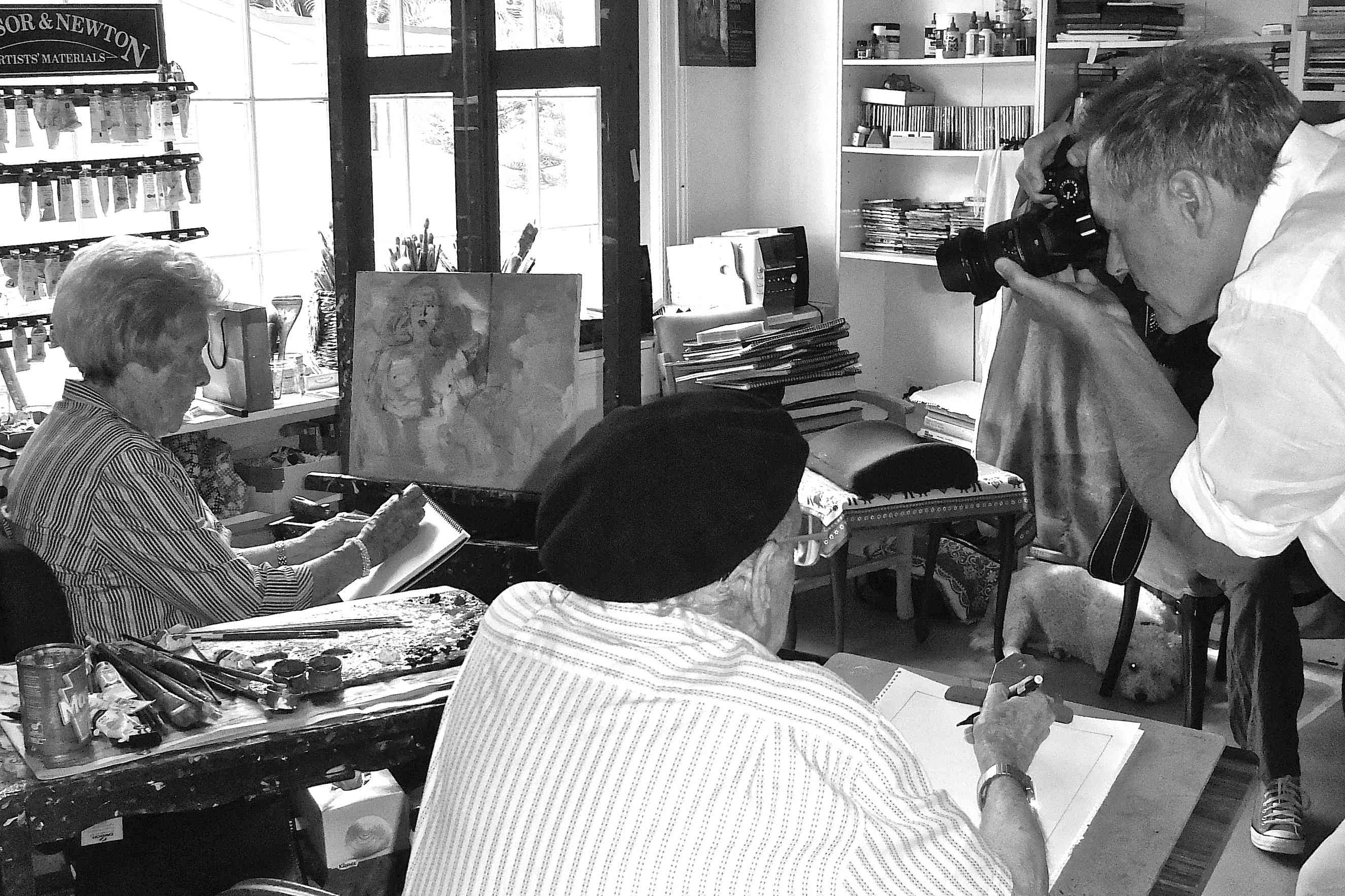 Paul shooting film in Judy Cassab's Studio, Sydney